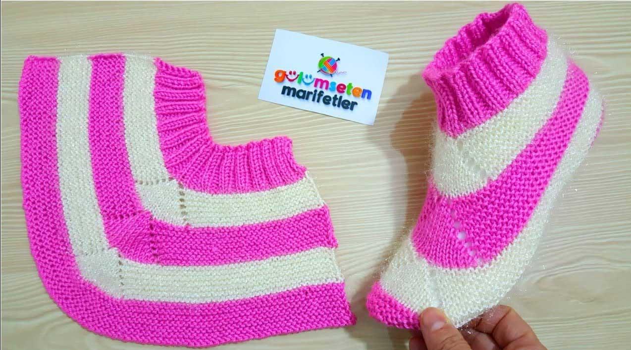 Sapato de Tricô Feminino Rosa e Branco