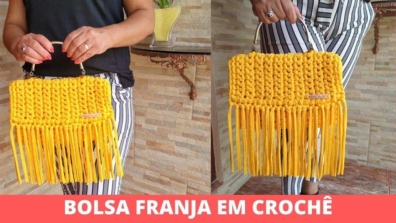 Bolsa de Crochê Amarela com Franja