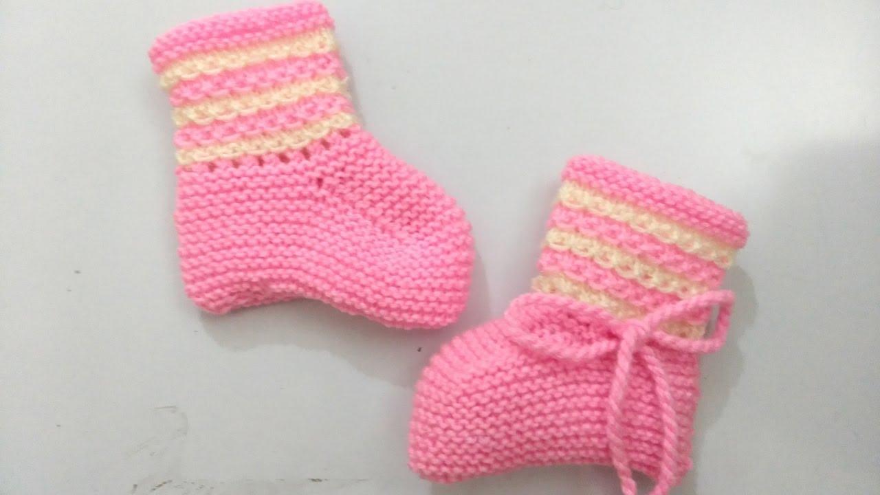 Botinha de Tricô Rosa para Bebê 6 a 12 meses