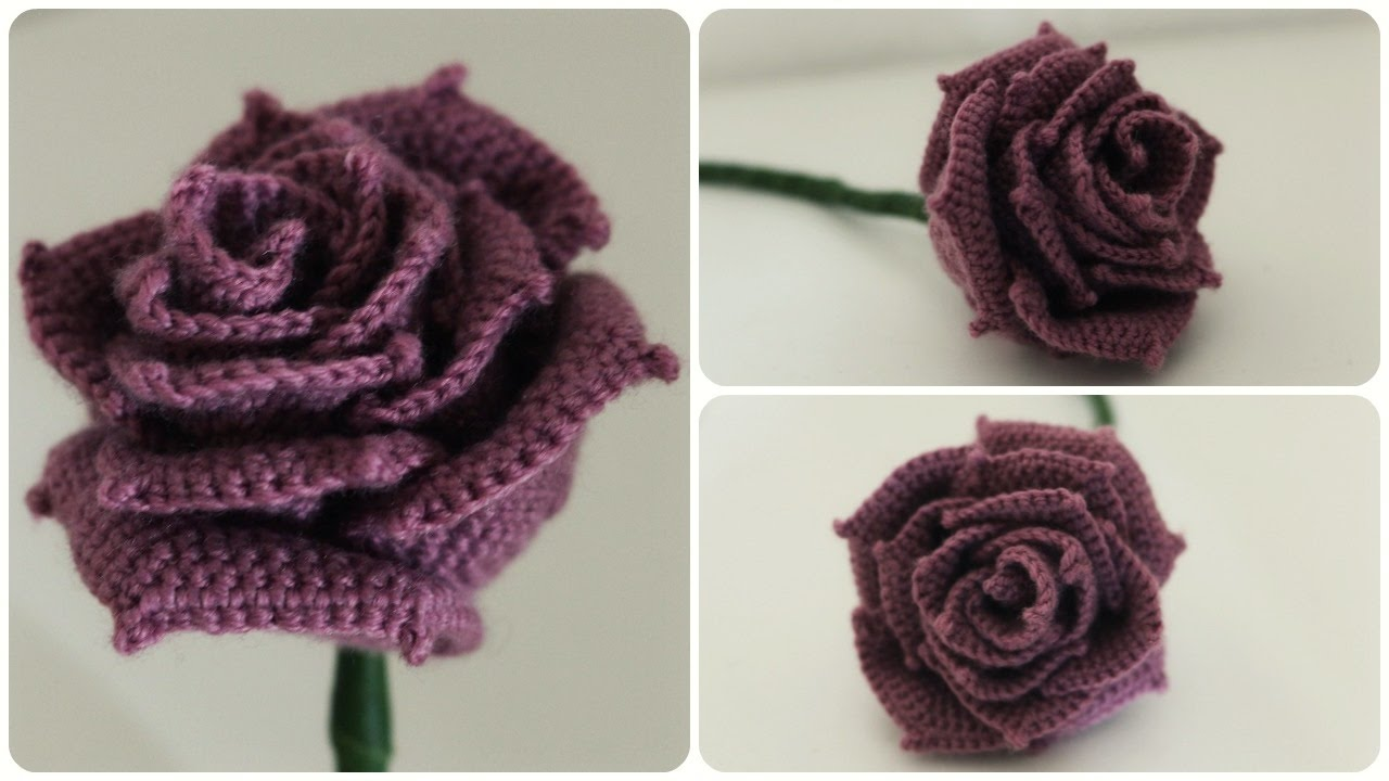 Rosa de Crochê Roxa