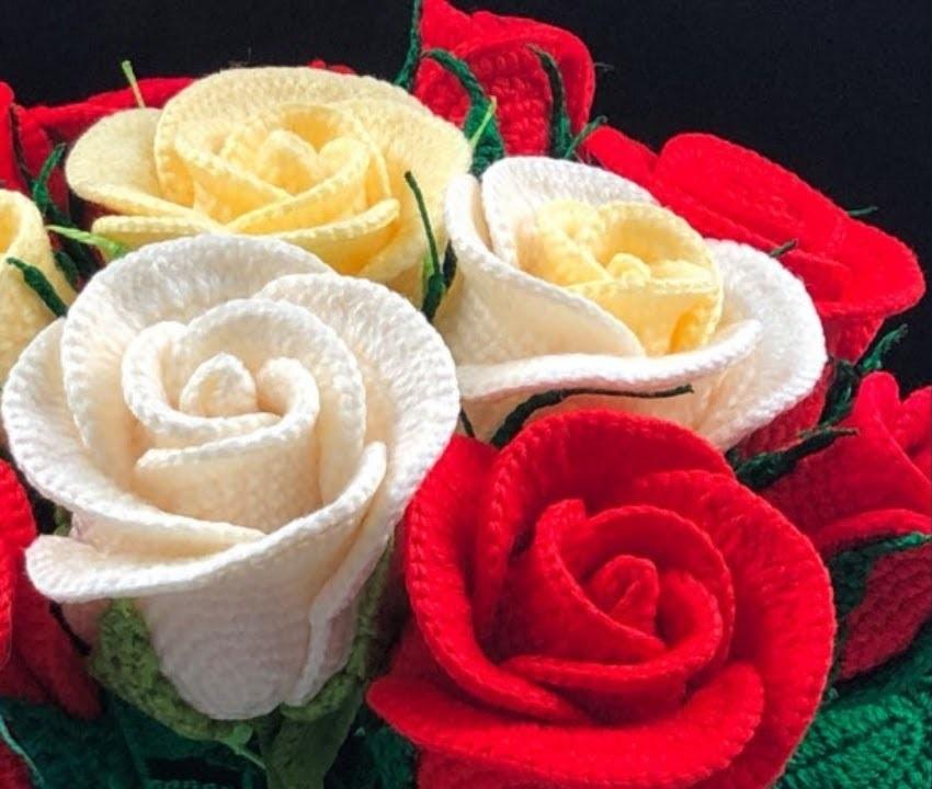Rosa de Crochê Haste Longa