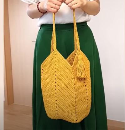 Bolsa de Crochê Amarela Simples