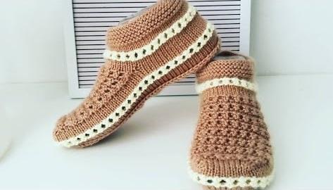 Sapato de Tricô Marrom Estiloso