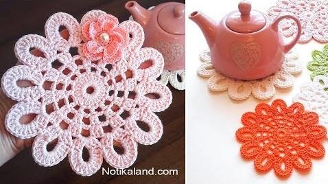 Toalhinha de Crochê com Flor e Pérola
