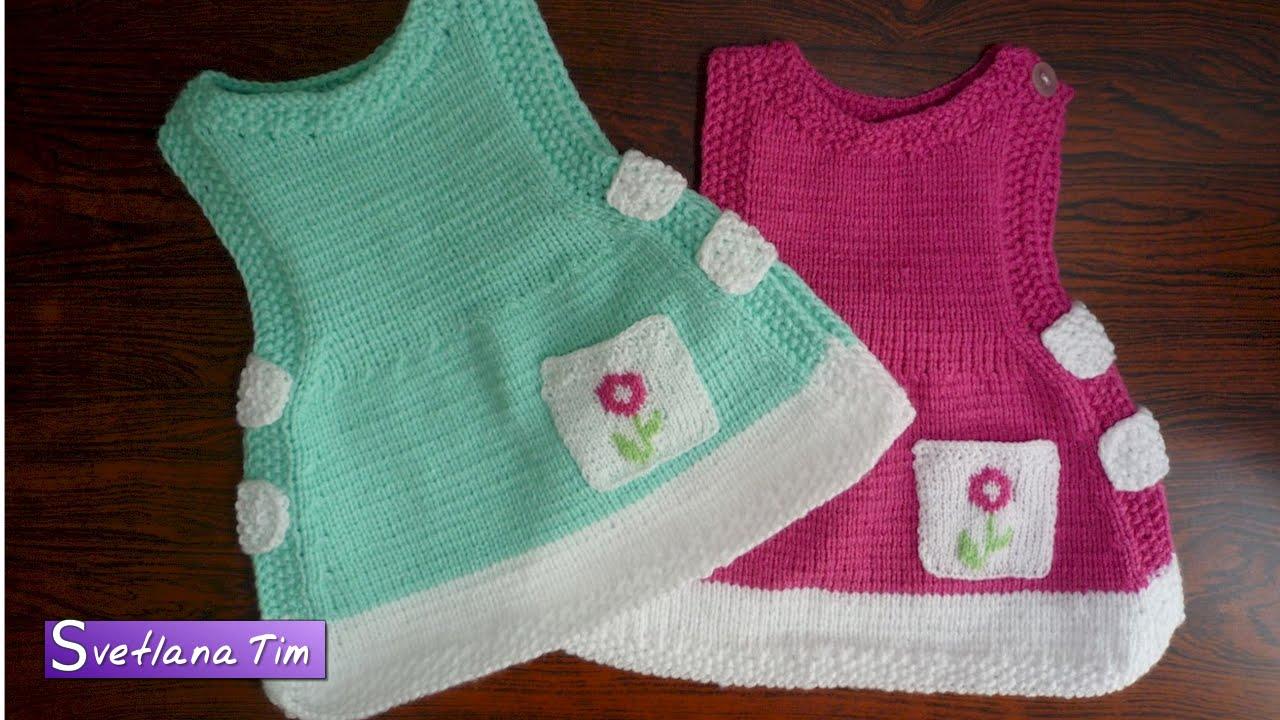 Vestido de Tricô Para Menina Verde e Rosa
