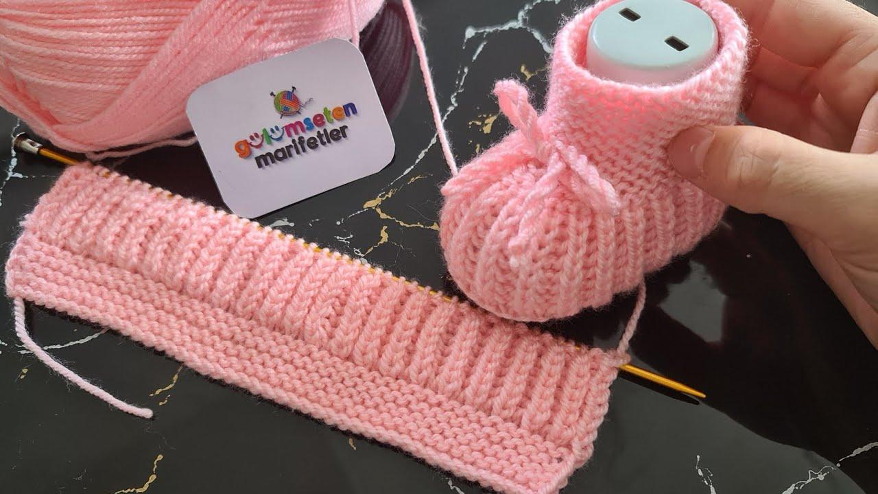 Botinha de Tricô Infantil Rosa para Bebê