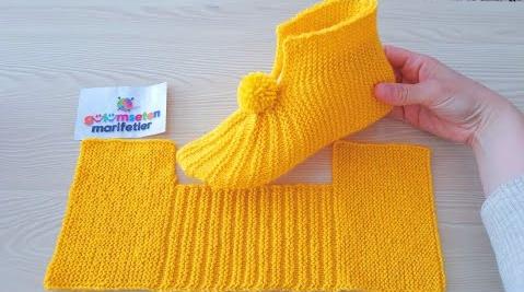 Sapatinho de Tricô Feminino Amarelo