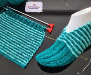 Sapato de Tricô Listrado Azul Claro