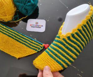 Sapato de Tricô Listrado Amarelo e Verde