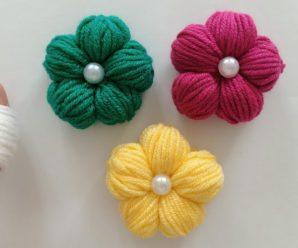 Flor de Lã Fácil de Fazer