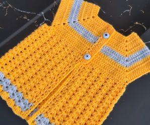 Suéter para Bebê Amarelo e Cinza