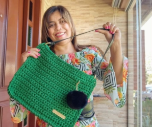 Bolsa de Crochê Verde Premium
