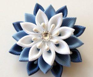 Flor de Kanzashi Azul + Inspiração