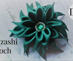 Flor de Kanzashi Verde Esmeralda + Inspiração