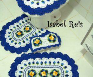 Jogo de Banheiro de Crochê Azul